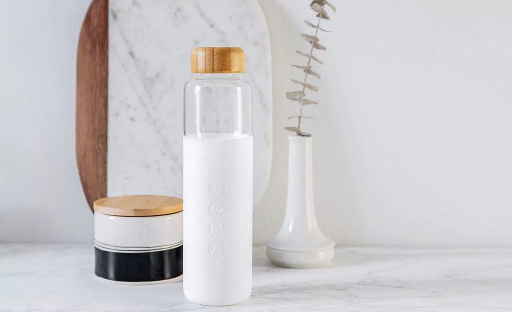 Bouteille d'eau Soma blanche en verre réutilisable